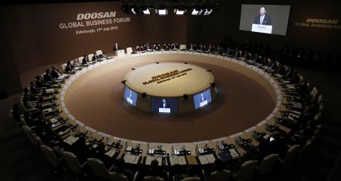 Doosan Chairman Yongmaan Park delivers remarks during the Doosan Global Business Forum 2015 in Edinb ...