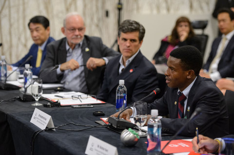 Timothy Shriver, Chairman of the Special Olympics, and Anthony Lake, Executive Director for UNICEF, listen to insights from Special Olympics Botswana Athlete Brightfield Shadi about the need for greater global inclusion of individuals with disabilities at today's Special Olympics Inclusive Global Development Roundtable. (Photo: Will Schermerhorn, Special Olympics)