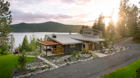 Enter each day until September 11 for your chance to win the DIY Network Blog Cabin 2015, located on a lake in the mountains surrounding Coeur d'Alene, Idaho. This year's home is designed with multiple decks, patios and balconies as well as a two-story wall of windows to maximize the views of the natural scenery. (Photo: Business Wire)