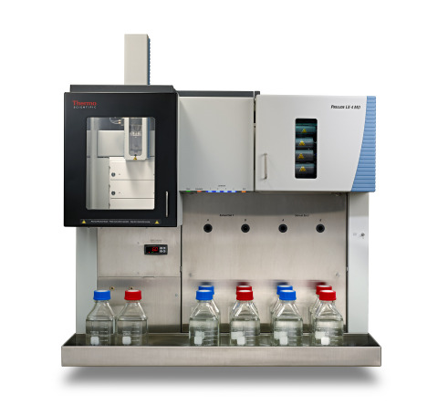 Listed with the FDA as a Class I medical device for general clinical use, the Thermo Scientific Prelude LX-4 MD HPLC quadruples the productivity of a single-channel HPLC using four parallel channels that deliver up to four separations in a single instrument, which streamlines LC-MS workflows and reduces idle time of a mass spectrometer. The four channels can run identical or different LC-MS assays simultaneously, which provides flexibility for varying clinical separations and maximizes their mass spectrometry's utilization. (Photo: Business Wire)