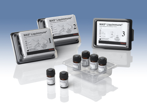 The Thermo Scientific MAS Liquimmune controls are designed to monitor immunoassay test procedures on automated instruments, and the analytes covered include those routinely measured for fertility, thyroid, iron deficiency, endocrine and allergy testing. They are the first clinical chemistry QC material with a five-year shelf life. (Photo: Business Wire)