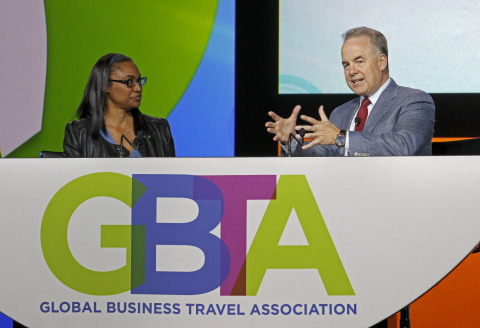 Etihad Airways President and Chief Executive Officer James Hogan speaks at the 2015 Global Business Travel Association (GBTA) Convention in Orlando, Fla. (Photo: Business Wire)