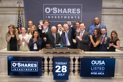 O'Shares Chairman Kevin O'Leary and O'Shares CEO Connor O'Brien ring the NYSE Opening Bell(R) to celebrate the recent launch of the O'Shares FTSE US Quality Dividend ETF (NYSE Arca: OUSA).