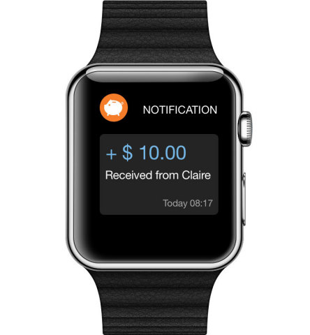 Oink push notification displayed on the Apple Watch (Photo: Business Wire)