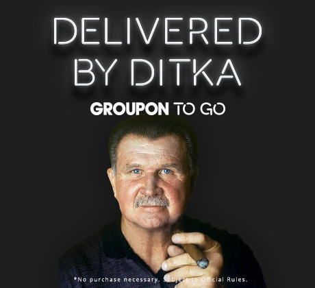 Just in time for the upcoming football season, Groupon is offering fans the opportunity to win a Groupon To Go office party complete with tailgate games and food delivered by legendary former Chicago Bears coach and player Mike Ditka (Photo: Business Wire)