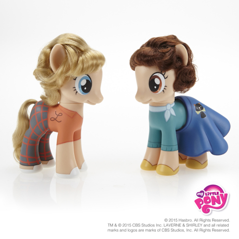 """""""1, 2, 3, 4, 5, 6, 7, 8…Schlemiel, Schlimazel, Hasenfeffer Incorporated!"""" To celebrate the magic of friendship and commemorate the International Day of Friendship on July 30, 2015, Hasbro Inc. and the MY LITTLE PONY brand are creating pony versions of some of the most notable pals throughout pop culture history, including Milwaukee's own Laverne and Shirley, of Laverne & Shirley fame. Follow #MLPFriendshipDay and visit the MY LITTLE PONY Facebook page to check out the other best friend figures: https://www.facebook.com/mylittlepony TM & © 2015 CBS Studios Inc. LAVERNE & SHIRLEY and all related marks and logos are marks of CBS Studios, Inc. All Rights Reserved (Photo: Business Wire)"""