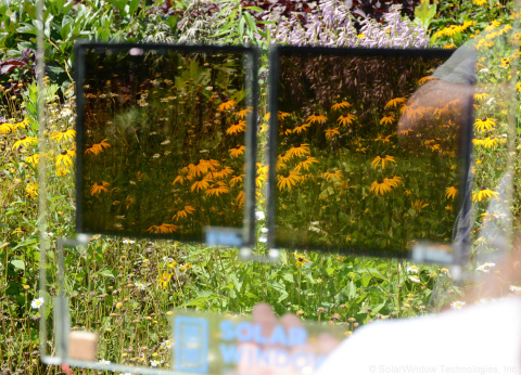 Natural view showing transparency of SolarWindow™ electricity-generating coating (Photo: Business Wi ...