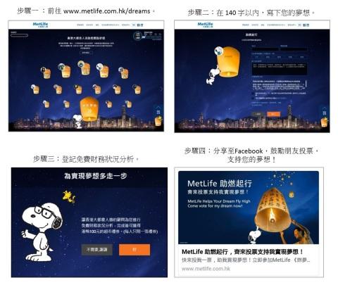 步驟一:前往www.metlife.com.hk/dreams。 步驟二:在140字以內,寫下您的夢想。 步驟三:登記免費財務狀況分析。 步驟四:分享至Facebook,鼓勵朋友投票,支持您的夢想!(圖片:美國商業資訊)