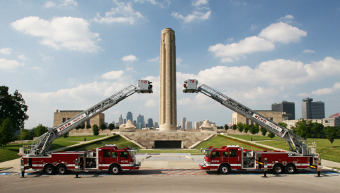 Pierce today announced an order for 48 Pierce(R) custom fire and emergency vehicles from the Kansas City Fire Department (KCFD) in Kansas City, Missouri. The order includes a wide range of custom apparatus, including 28 pumpers, four rescue pumpers, nine aerial platforms, three heavy-duty rescues, three aerial tillers, and one Hazmat unit. Shown here are two Pierce aerial platform apparatus from the KCFD fleet. (Photo: Business Wire)