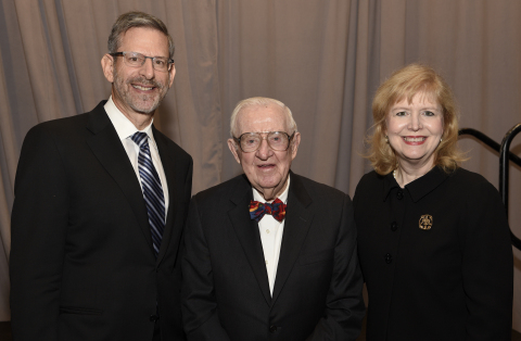 Left to right: Steven Weiss, a partner at Honigman Miller Schwartz and Cohn LLP, Associate Justice of the U.S. Supreme Court Justice John Paul Stevens (Ret.) and Nancy Scott Degan, a shareholder at Baker, Donelson, Bearman, Caldwell & Berkowitz, PC. (Photo: Business Wire)