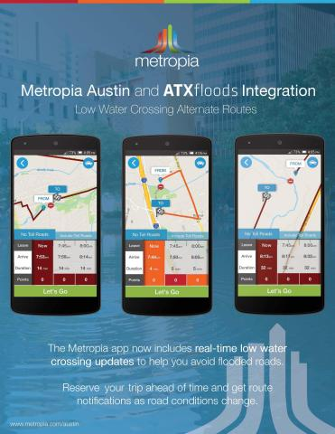 Metropia Austin now includes real-time low water crossing updates with their integration of ATXfloods to help drivers avoid flooded roads. (Graphic: Business Wire)