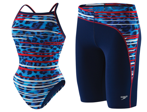 New Speedo PowerFLEX Eco women's one piece and men's jammer made with ECONYL 100% upcycled nylon. (Photo: Business Wire)