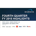 HARMAN 4Q FY2015 and Full Year Results Supporting Slide Deck