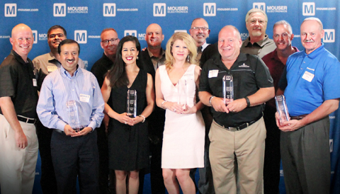 Mouser Electronics awards its 2015 Best-in-Class recipients. On back row from left to right: Jeff Newell, Sumit Awasthi, Jack Meyer, Adam Osmancevic, Glenn Smith, Ron Strain, Sean Grant. On front row from left: Mandar Deshpande, Caroline Wells, Cheryl Swaim, Steve Nye and Doug Lippincott. (Photo: Business Wire)