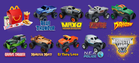 Exclusive McDonald's Happy Meal Monster Jam truck toys (Graphic: Business Wire)