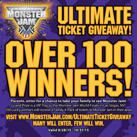 Monster Jam Ultimate Ticket Giveaway begins August 28, 2015 (Graphic: Business Wire)