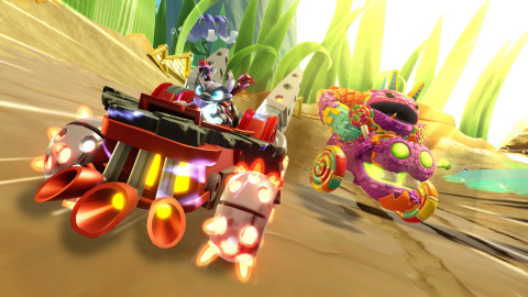 SuperCharged Spitfire in his vehicle Hot Streak leaves Pain-Yatta in the dust as he races against the villain in multiplayer mode in Skylanders SuperChargers, available on September 20 in North America. (Graphic: Business Wire)