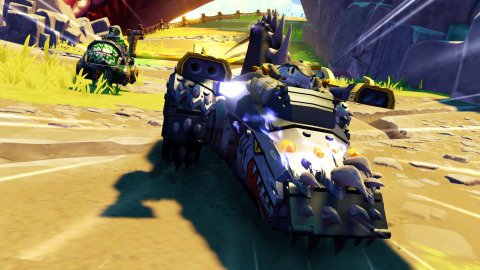 SuperCharged Shark Shooter Terrafin speeds past a competitor in a Land race. Portal Masters can now experience online multiplayer and racing action in Skylanders SuperChargers, available on September 20 in North America. (Graphic: Business Wire)