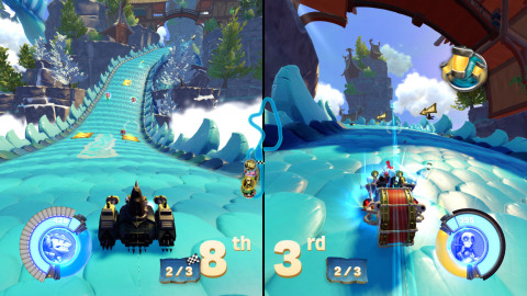 Skylanders SuperChargers brings franchise firsts to fans with the announcement of racing and online multiplayer gameplay at Gamescom 2015. Whether fans prefer co-operative play in Adventure Mode or competitive multiplayer with up to four players in Racing Mode, Skylanders SuperChargers' online gaming is fueled with adrenaline-pumping action right out of the box on Sept. 20 in North America. (Graphic: Business Wire)