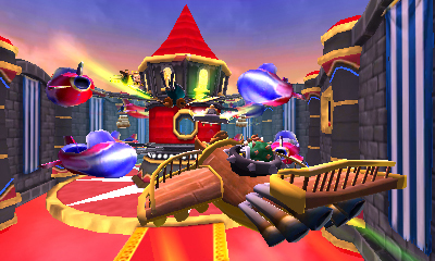 Experience a complementary, dedicated racing combat game on Skylanders SuperChargers Racing on the Nintendo Wii and Nintendo 3DS hand-held system, available in the US on Sept. 20. Here, SuperCharged Hammer Slam Bowser is racing in his Clown Cruiser on the Nintendo 3DS hand-held system. (Graphic: Business Wire)