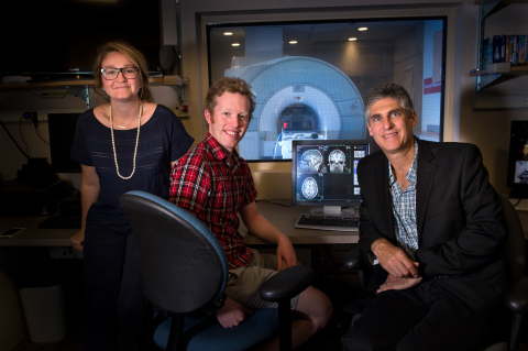 Sophie Lebrecht (CEO of Neon), Mark Desnoyer (VP of Engineering, Neon), and Professor Mike Tarr (Head of Psychology Dept, CMU) (Photo: Business Wire)
