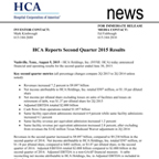 HCA Reports Second Quarter 2015 Results