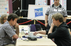 Matthew Tunnicliffe, of Ottawa, ON, and Jesse Day of Berkeley, Calif., concentrate on their SCRABBLE game at the 2015 North American SCRABBLE Championship on Wednesday, Aug. 5, 2015 in Reno, NV. (Photo: Business Wire)