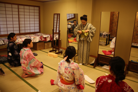 You can enjoy the hotel in a traditional yukata of Japan. The staff will tell you how to wear the yu ...