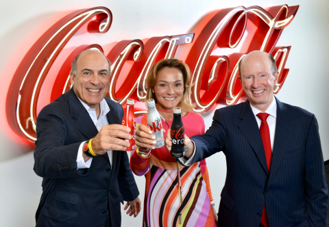 Muhtar Kent, Chairman and Chief Executive Officer, The Coca-Cola Company, Sol Daurella, Executive Chairwoman of Coca-Cola Iberian Partners and John Brock, Chairman and Chief Executive Officer of Coca-Cola Enterprises, Inc. toast the creation of Coca-Cola European Partners. (Photo: Business Wire)