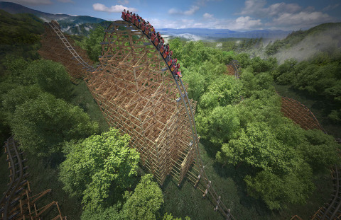 After an impressive first drop, riders race to a top speed of 73 mph, making Dollywood's Lightning Rod the fastest wood coaster in the world.(Photo: Business Wire)