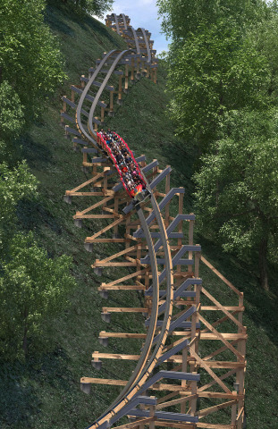 Dollywood's Lightning Rod features a number of unique ride attributes including the Twist and Shout. The ride is the world's first launched wood coaster.(Photo: Business Wire)