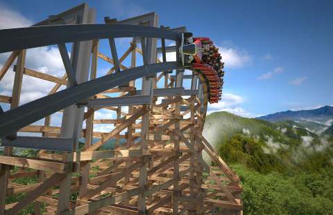 Dollywood's Lightning Rod, the world's first wood launch coaster and the world's fastest wood coaster, features several impressive ride attributes including a 90+ degree banked turn. (Photo: Business Wire)