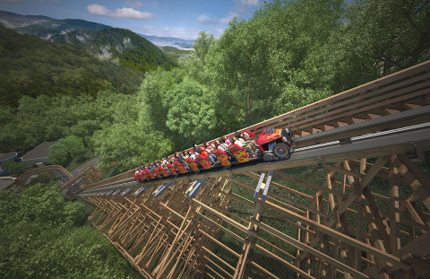 Dollywood's Lightning Rod is the world's first launching wood coaster. Instead of a traditional lift, Lightning Rod launches riders up its lift hill.(Photo: Business Wire)