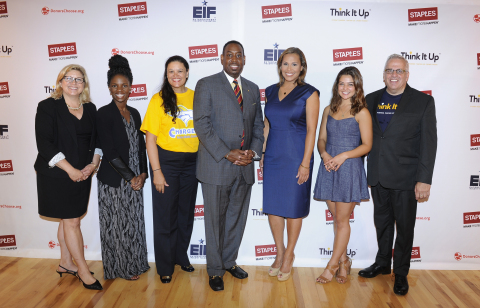 "Actress Danielle Campbell, second from right, poses with from left, Carrie McElwee, Kristina Joye Lyles, Meria Carstarphen, Ed.D, Principal Mario Watkins, Jovita Moore, and Tom Chido, at the Staples ""Think It Up"" press conference at Ralph J. Bunche Middle School, held on Thursday, August 6, 2015, in Atlanta. Staples continued its commitment to education by flash funding 202 local classroom projects in Atlanta, as part of its $10 million pledge to Think it Up™, a new national initiative of the Entertainment Industry Foundation in partnership with DonorsChoose.org. (Photo by John Amis/Invision for Staples/AP Images)"