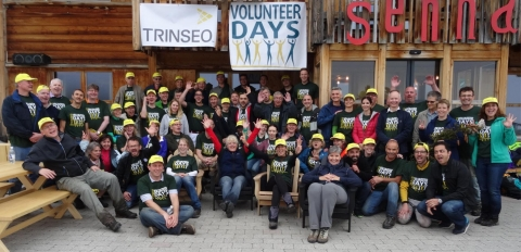 Trinseo's Horgen and Samstagern sites teamed up for the Company's Volunteer Days program in the Alps to clean the grassland of weeds and debris for the local farmers. (Photo: Business Wire)