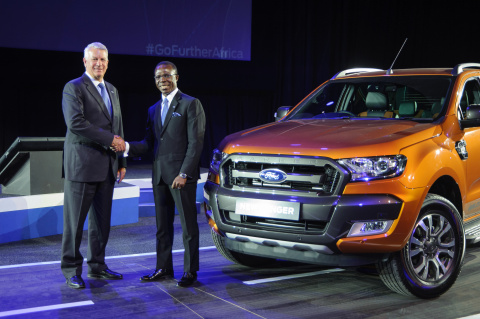 At Go Further South Africa 2015, Ford South Africa President and CEO Jeff Nemeth (left) and Coscharis Motors Limited President Dr. Cosmas Maduka (right) announced a new manufacturing facility in Nigeria to assemble the best-selling Ford Ranger. (Photo: Business Wire)