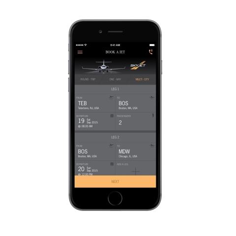 The private jet booking screen on Skyjet's new app for iPhone. The app is the first of its kind in the private jet charter industry to integrate with Apple Pay, allowing users to book a private jet with a touch of their finger. (Photo: Business Wire)