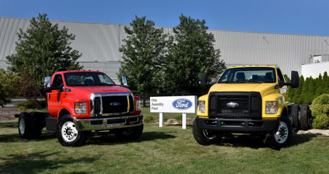 All-new Ford F-650/F-750 medium-duty trucks roll off the line Aug. 12, 2015, for the first time in t ...