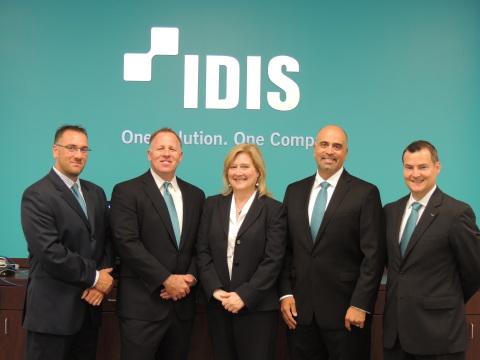 The IDIS America sales team (from left): Matt Bischof, Cliff Golden, Lisa Polk, Jason Burrows, Keith ...
