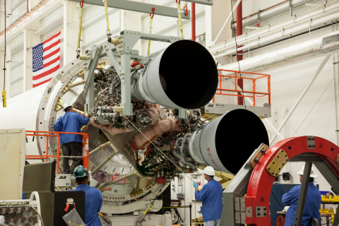 Two RD-181 engines that arrived in July are being integrated with the Antares first stage air frame  ...