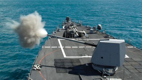 The combat-proven Mk 45 Naval Gun System provides ships with an effective weapon for anti-surface, s ...
