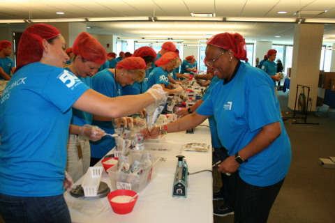 Lexington Insurance Company employees assemble and package 40,000 meals for Stop Hunger Now to feed  ...