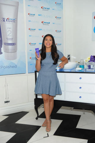 Award-winning actress Gina Rodriguez shows off her polished smile at the Crest 3D White Brilliance 2 ...