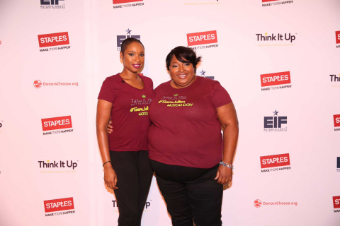 Academy and Grammy Award winning artist Jennifer Hudson and sister Julia Hudson help celebrate the Julian D. King Gift Foundation's Hatch Day with support from Staples for Students and the Entertainment Industry Foundation. Staples announced a $95,450 donation to fulfill all STEM projects in the Chicago Public School district on DonorsChoose.org during her Hatch Day event. This donation is part of Staples' recent $10 million pledge to Think It Up™, a new national initiative of the Entertainment Industry Foundation in partnership with DonorsChoose.org (Photo Credit: Alex Goykhman)