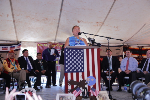 Speaking at a celebration of National Navajo Code Talkers Day, Intel engineer Jolene Begay announces ...