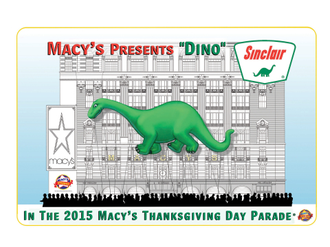 Sinclair Oil's legendary Dino returns to the Macy's Thanksgiving Day Parade this November as a giant character balloon. (Graphic: Business Wire)