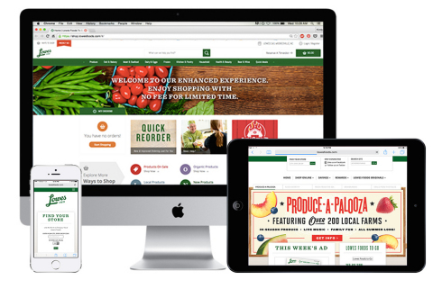Lowes Foods customer experience on desktop, tablet and mobile (Graphic: Business Wire)