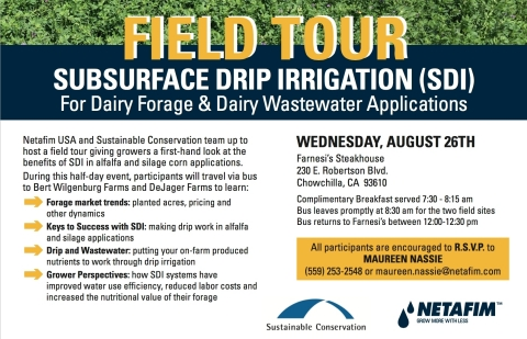 Netafim and Sustainable Conservation have partnered to give growers a first-hand look at a new dairy forage subsurface irrigation system technology that utilizes wastewater to improve the nutritional value of forage and maximize overall inputs. (Graphic: Business Wire)