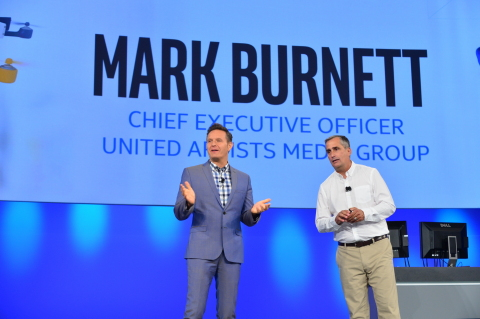"""At the 2015 Intel Developer Forum in San Francisco, CA, United Artists Media Group CEO Mark Burnett, (left) and Intel CEO Brian Krzanich, (right), announced """"America's Greatest Makers,"""" a new reality competition premiering in the first half of 2016 across the Turner Broadcasting entertainment platform that builds off the success of last year's Intel 'Make it Wearable' challenge. Offering a $1 million prize, the challenge showcases makers inventing wearables and smart connected consumer devices powered by Intel Curie technology. (Photo: Business Wire)"""