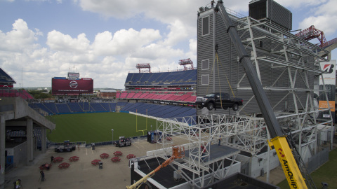 """2016 Nissan TITAN XD gets special """"reserved parking space"""" atop Tennessee Titans' Nissan Stadium (Photo: Business Wire)"""
